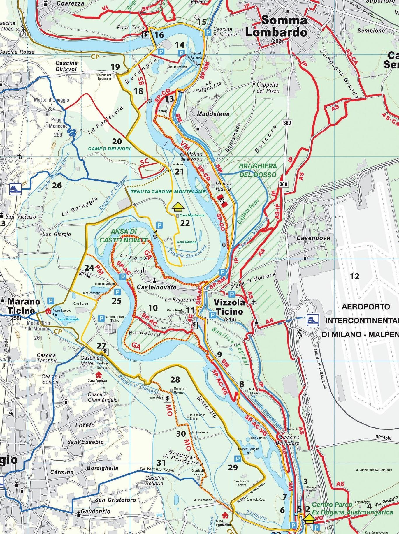 Carta Colline Moreniche itinerario